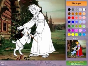 Онлайн игра раскраска Алёнушка и Иванушка