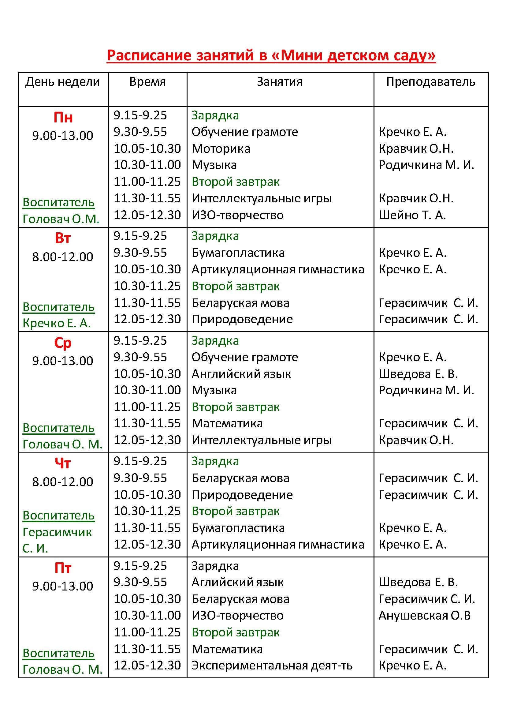 Расписание занятий в Мини детском саду
