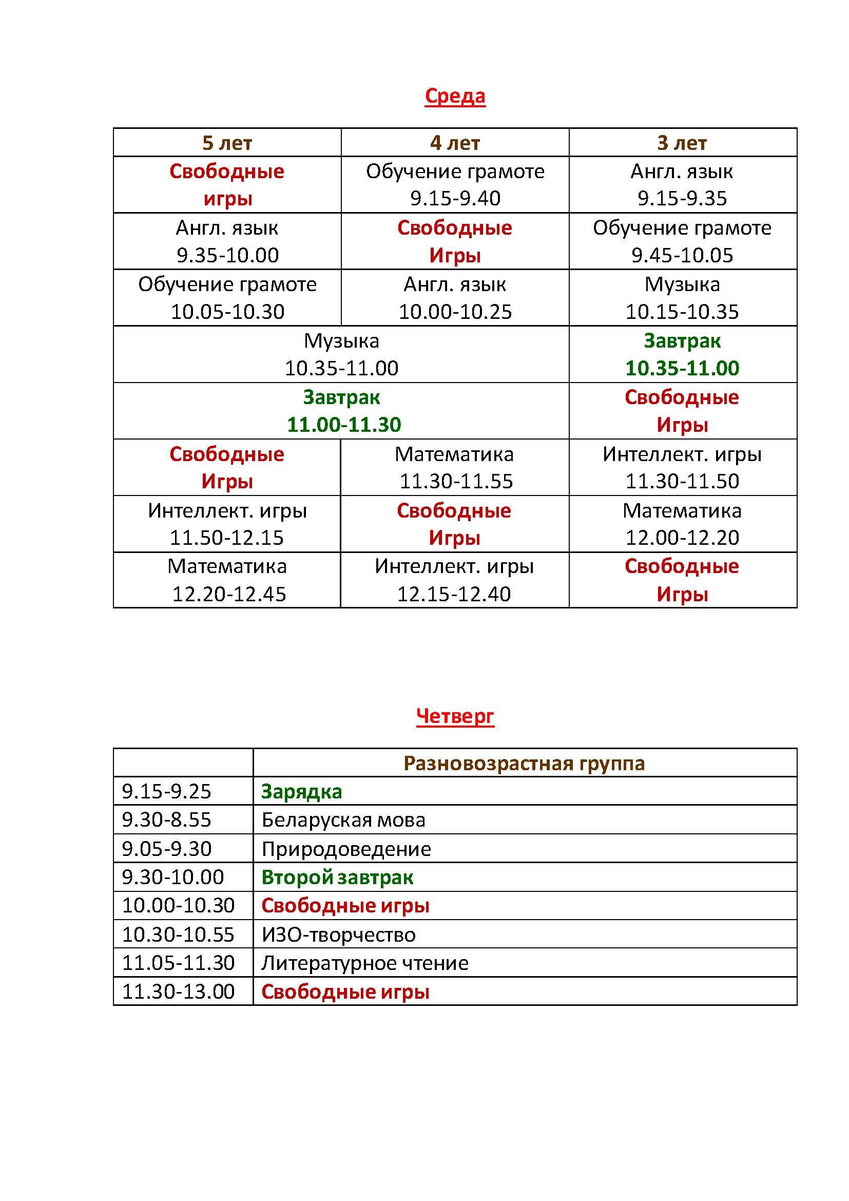 Расписание занятий в Мини детском саду 3 часть
